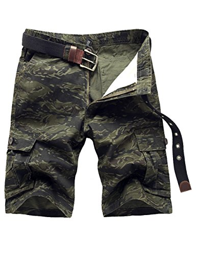 Menschwear Mens Cotton Cargo Shorts Multi Pockets Relaxed Fit with Belt (33,Army-Green)