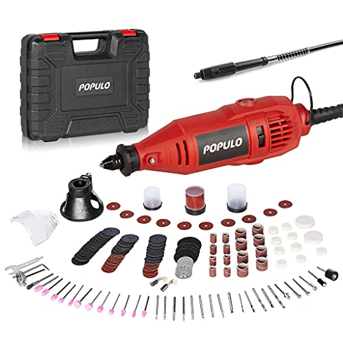 Power Rotary Tool Kit with Flex Shaft and Universal Keyless Chuck, 154pcs Accessories,Variable Speed Engraving, Drill Sanding, Cutting, Polishing for Engraver, Multi-Functional for Crafting Projects