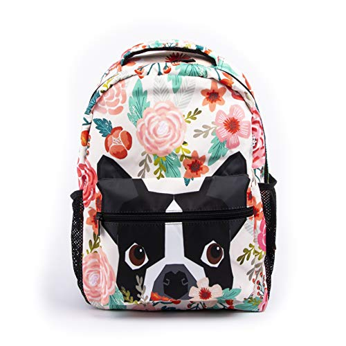 Boston Terrier Dog Florals School Backpack Colorful Flower Pug Bookbag Funny Flowers Dogs Printed Casual Backpack Student Backpack for Students Travel Hiking Camping Daypack