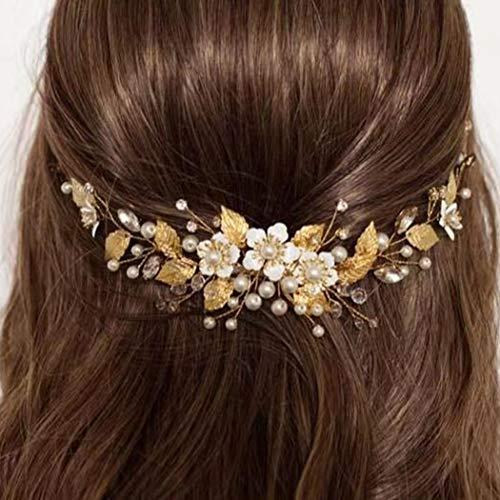 Simsly Blumenhaarschmuck, Hochzeits-Haarschmuck, silber- oder goldfarben, Haaraccessoire, mit Kristallen, Brautschmuck, für Damen und Mädchen