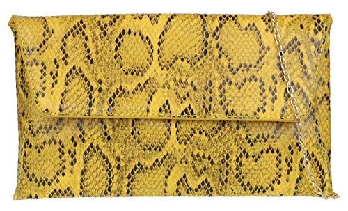 Bolso de sobre amarillo de piel de serpiente