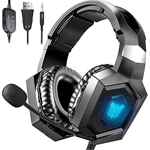 Gaming Headset Xbox One Headset with 7.1 Surround Sound, Stereo Gaming Headset with Mic Noise Cancelling, Ultra Soft Earmuffs, Over-Ear Headphones Compatible for PS4 PS5 Xbox One PC Laptop