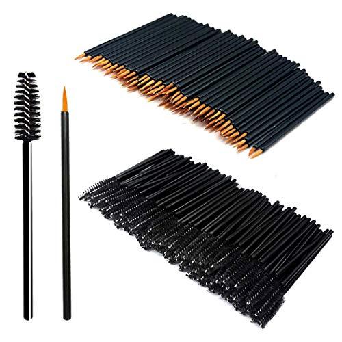 200 Stück Make-up Tool-Kits Einweg Nylon Eyeliner-Pinsel Stick Schwarz Einweg...