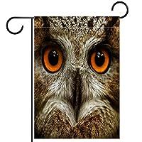 春夏両面フローラルガーデンフラッグウェルカムガーデンフラッグ(12x18in)庭の装飾のため,フクロウの動物