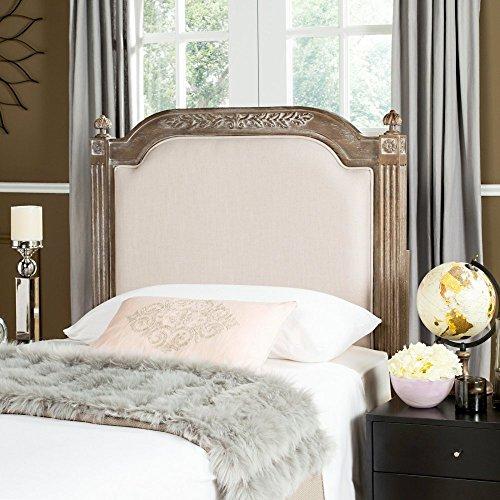 Safavieh Home Collection Tufted Linen Rustic Oak Wood and Beige Headboard (Queen)
