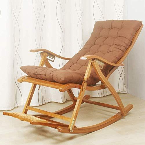 A-ZHP Folding Bambusstuhl, Balkon Schaukelstuhl, verstellbare Liege, mit einziehbarer Fuss Massageplatte, bewegbare Polster,Wood Color