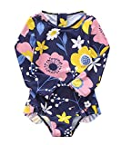 Baby Girls One Piece Swimsuits Long Sleeve Rash Guard Zipper Back Bathing Suit Sun Protection UPF 50+ Floral 18-24 Month