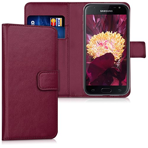 kwmobile Samsung Galaxy J3 (2017) DUOS Hülle - Kunstleder Wallet Case für Samsung Galaxy J3 (2017) DUOS mit Kartenfächern & Stand - Bordeaux
