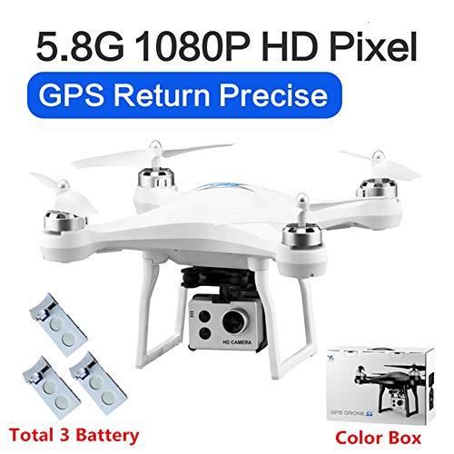 RC Drone GPS Drones met 5G WiFi 1080P HD Groothoek Elektronische camera GPS Intelligent Volgend quadcopter Vlieg 18 minuten Speelgoed, kan als cadeau aan uw kind worden gegeven,White,3battery