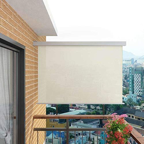 UnfadeMemory Toldo Lateral Retráctil de Pared para Jardín Balcón o Terraza,Protección de la Intimidad,Protección Solar,Color Opcional,Tamaño Opcional (180x200cm, Crema)