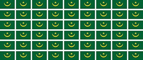 Mini Aufkleber Set - Pack glatt - 20x12mm - Sticker - Mauretanien - Flagge - Banner - Standarte fürs Auto, Büro, zu Hause & die Schule - 54 Stück