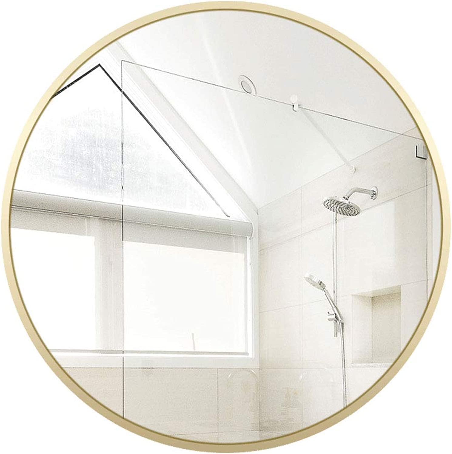 Round Bathroom Mirror Circle Wall-Mounted Wooden Frame Mirror Makeup Shaving Wall Mirror 50-70cm Available Wood color