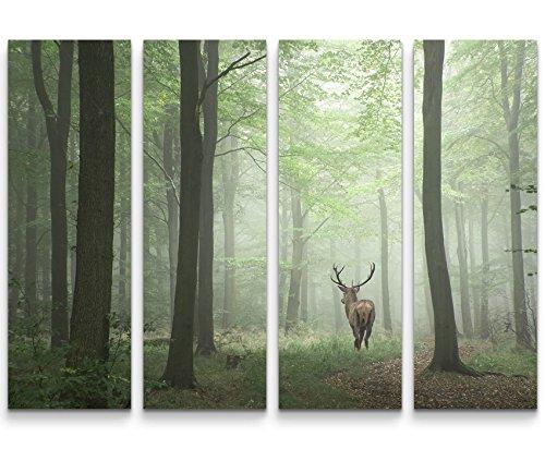 Paul Sinus Art Leinwandbilder | Bilder Leinwand 130x90cm 4 Teile Hirsch im Wald