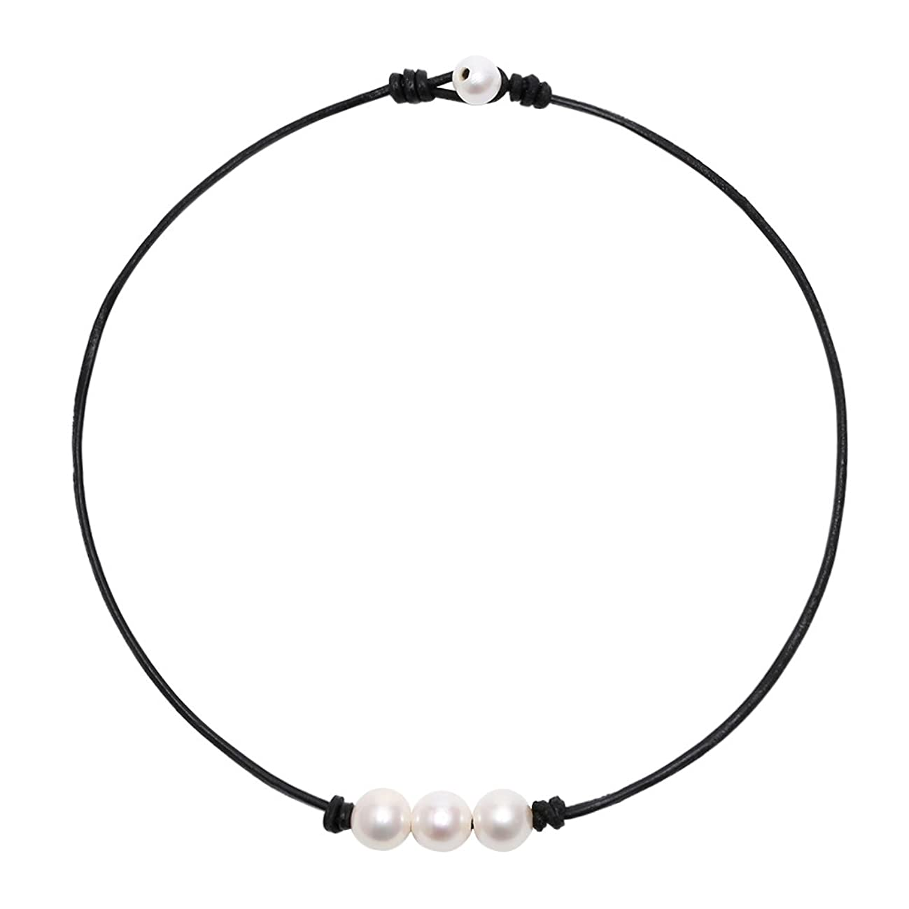 POTESSA White Pearl Choker Necklace with Three Beads on Genuine Leather Jewelry for Women