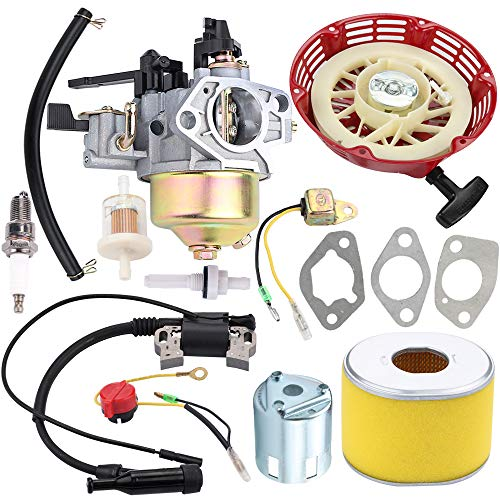 Kizut Vergaser-Kit für Honda GX390 GX340 13HP 11HP 188F Generator Rasenmäher Generator Wasserpumpen Tiller Cultivator 16100-ZF6-V01 16100-ZF6-V00 Vergaser mit Rücklaufstarter, Zündspule Luftfilter