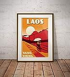 guyfam Vintage Poster Laos - Vang Vieng - Fine Art Print