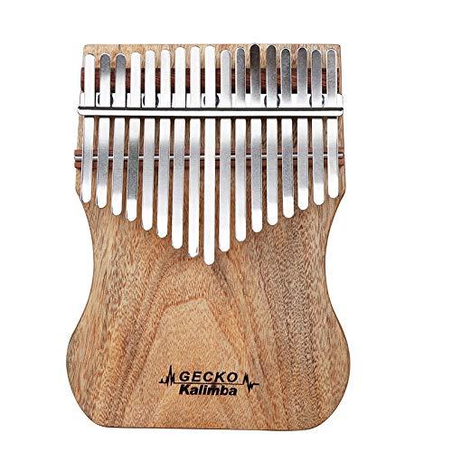 GUOQING SFFSM Gecko Kalimba 17 Keys Daumenklavier Kampfer Holz mit Unterricht und Tune Hammer Musikinstrumente (Farbe : Wood)