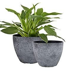 "Unique Design in Two Sizes - Engage a modern minimalist style to match home decors and to display your plants. Adorn your outdoor and indoor areas: porch, patio, deck, balcony, living room, study room, kitchen etc. Size: Large-8.6""D x 6.7""H; Small-7...."