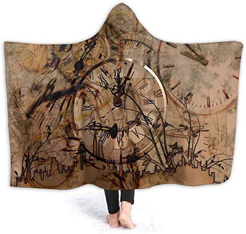 Bernice Winifred Manta con Capucha Impresa en 3D Reloj Retro Algodn Suave y Esponjoso Mantas para Adultos Sherpa Fleece Winter Throw Blanket130x150cm (51.2x59.1 '')