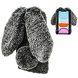LCHDA Plüsch Hülle für Samsung Galaxy M31/M21/M30s Flauschige Hasen Fell Handyhülle Mädchen Süße Künstliche Kaninchen Pelz Niedlich Hasenohren Handytasche Schützend Stoßfest TPU Silikonhülle- Schwarz