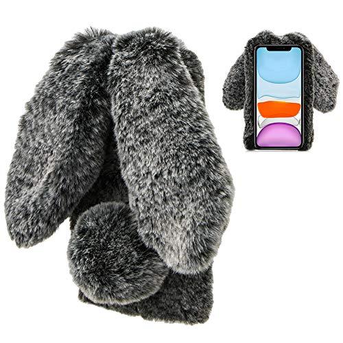 LCHDA Funda de Conejo para Samsung Galaxy A21s, Lindo Piel Artificial de Conejo Orejas Largas Suave Peludo Difuso Cálido Invierno Pelo Esponjoso Felpa Mullido Carcasa Protectora, Negro