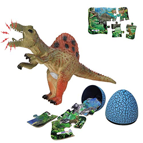 Spinosaurus Dinosaur Toy Sets, Realistic Roaring Jumbo Dinosaur & Dinosaur Puzzle & Dinosaur Egg 3 in 1 Toddler Toys Set for Kids Boys and Girls Age 3 and up Play, Education, Birthday