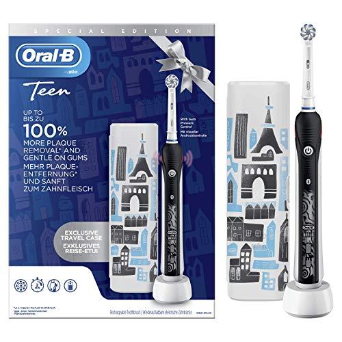 Oral-B Teen Spazzolino Elettrico Ricaricabile, 1 Manico Nero e 1 Custodia da Viaggio