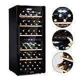 Klarstein Barossa 102D - Black Edition Weinkühlschrank mit 2 Kühlzonen für bis zu 102 Flaschen, Panorama-Fronttür aus Sicherheitsglas, LCD-Anzeige, herausnehmbaren Holzeinschübe, Touch, LED, schwarz