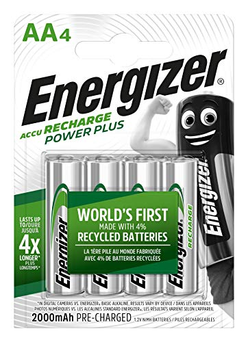 Energizer Piles Rechargeables AA, Recharge Power Plus, Lot de 4