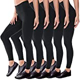 Leggings for Women - No See Through High Waisted Black Leggings Tummy Control Pants for Workout Running (5 Pack-Black, One Size(S-M))