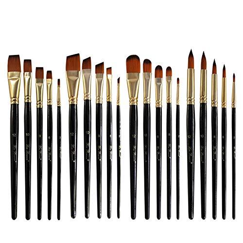 Jklt Ensemble de Pinceaux 20 Art Brosse en Nylon Noir Rod Pen Set for Huile Aquarelle Peinture Peinture Acrylique Portabilité et Large Application (Couleur : Black, Size : Free Size)