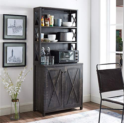 Elegant Charcoal Bar Cabinet | Kitchen Cabinet with Microwave Stand