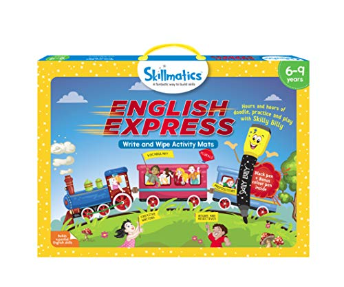 Skillmatics Educational Game: English Express 69 Years | Erasable and Reusable Activity Mats with 2 Dry Erase Markers | Learning Tools for Boys and Girls 6 7 8 9 Years