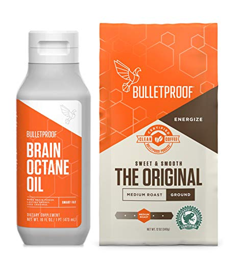 Bulletproof Original Roast Ground Coffee with Brain Octane PURE MCT oil 100% C8, Keto and Paleo Diet, Clean, Rainforest-Alliance certified, Vegan, Non-GMO, Bundle and Save! (Ground + MCT oil kit)