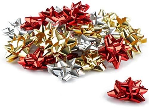 com-four® 30x Geschenkschleife Selbstklebende Dekoschleifen für Weihnachten und Geburtstag
