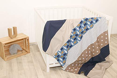 """ULLENBOOM ® Babydecke 100x140 cm """"Sand Bär"""" (Made in EU) - Baby Kuscheldecke aus ÖkoTex Baumwolle & Fleece, ideal als Kinderwagendecke oder Spieldecke geeignet, Design: Sterne, Punkte, Patchwork"""
