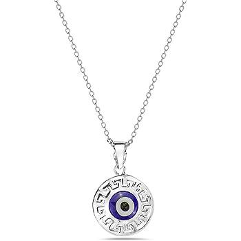 Amazon Com Sterling Silver Greek Key Double Sided Evil Eye Pendant Charm Evil Eye Pendant Made In Greece Jewelry