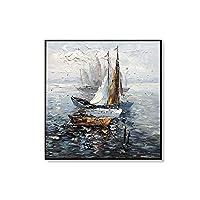 キャンバス上のDIHEFA帆船油絵リビングルームの手描きの壁アートオフィスの壁の装飾抽象的な海景絵画 40x40cmフレームなし