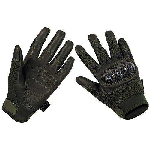 MFH Tactical Handschuhe Mission Taktische Einsatzhandschuhe mit Knöchelschutz Securitygloves Polizei Arbeitshandschuh verschiedene Ausführungen (L, Oliv)