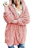 Zilcremo Mujer Lana Chaqueta Cárdigan con Capucha Frente Abierto Abrigo Fleece de Piel Sintética Invierno Rosa S