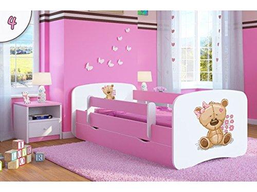 Kinderbett Jugendbett 70x140 80x160 80x180 Rosa mit Rausfallschutz Matratze Schublade und Lattenrost Kinderbetten für Mädchen - Teddybär mit Blumen 180 cm