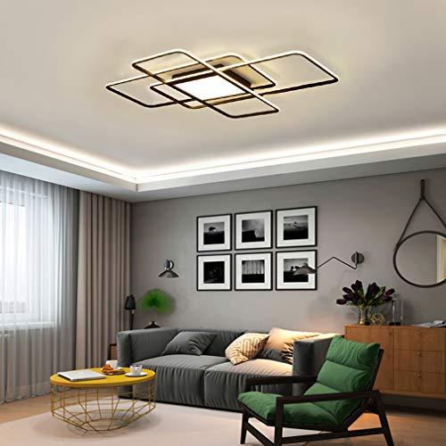 Wohnzimmerlampe LED Deckenleuchte Dimmbar Deckenlampe mit Fernbedienung, 80W Schlafzimmerlampe Modern Decke Aluminium Pendelleuchte Design Lampen Esszimmerlampe Bürolampe Küchelampe (Schwarz, 110CM)