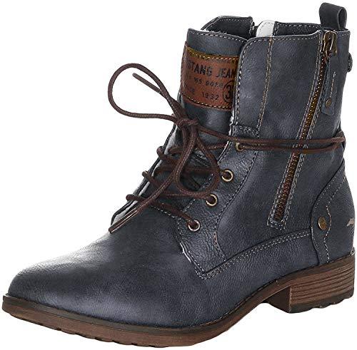 MUSTANG 1265-602 Schuhe Damen Ankle Boots Stiefeletten Warmfutter, Größe:39 EU, Farbe:Blau