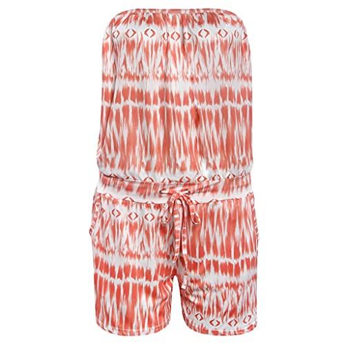 UXZZT Mullsuit Mujeres Verano Sexy Fuera del Hombro impresión impresión muelos Encaje Encima de los Juguetes Tube Top Minkers (Color : Orange, Size : Mcode)