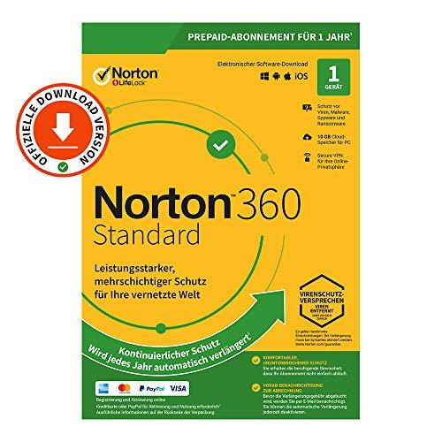 Norton 360 Standard 2021 | 1 Gerät| 1-Jahres-Abonnement mit Automatischer Verlängerung | Secure VPN und Passwort-Manager | PC/Mac/Android/iOS | FFP, Aktivierungscode per Email