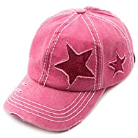 C.C Exclusives Hatsandscarf Washed Distressed Cotton Denim Ponytail Hat Adjustable Baseball Cap (BT-14) (HotPink Glitter Stars)