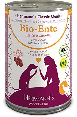 Herrmanns Bio Hundefutter Ente Menu 1 mit Süßkartoffel, Kürbis, Nachtkerzenoel 400 g, 12er Pack (12 x 400 g)