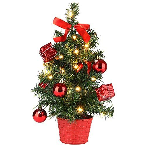 Casaria Weihnachtsbaum 36 cm künstlicher Tannenbaum Mini LED Lichterkette Christbaum Baum Tanne Weihnachten Ständer