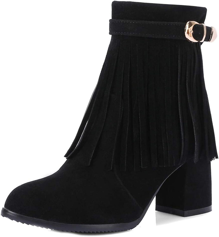 GIY Women's Fringe Chunky Ankle Boots Suede Round Toe Platform Velvet Bootie Tassel Block Heel Short Boot