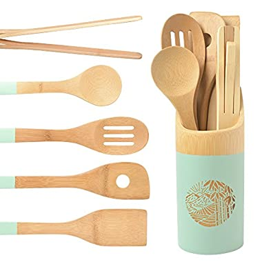 Organic 6 Piece Bamboo Cooking & Serving Utensils Set   Kitchen Accessories Kit In Colorful Utensil Holder   Spoon & Spatula & Salad Tong Mix   Space-Saving Wood Kitchen Gadgets Set   By laboos